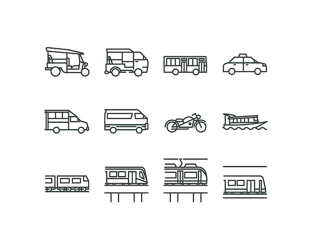 Ícones de estilo design plano linear de transportes públicos de banguecoque.