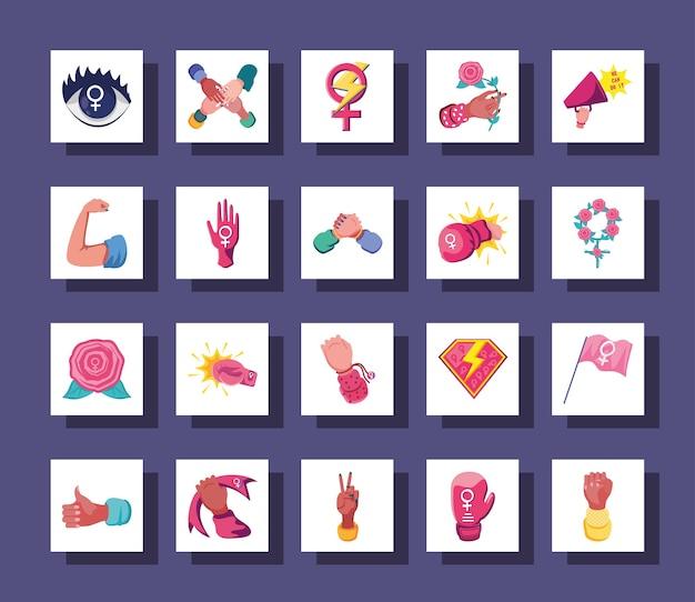 Ícones de estilo detalhado feminismo agrupam movimento internacional de design