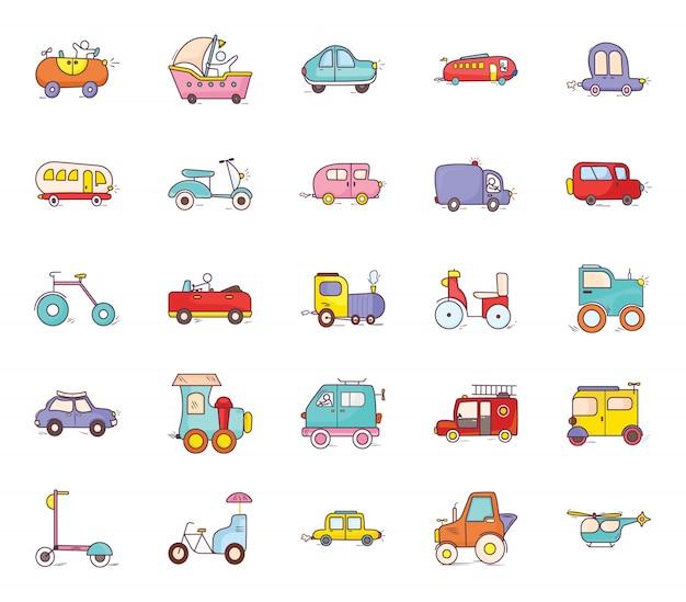 Ícones de estilo dos desenhos animados de transporte de entrega