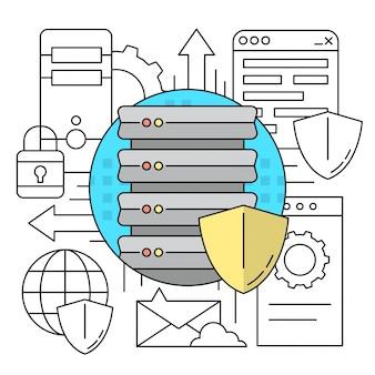 Ícones de estilo linear server computing elementos conceito fundos coloridos