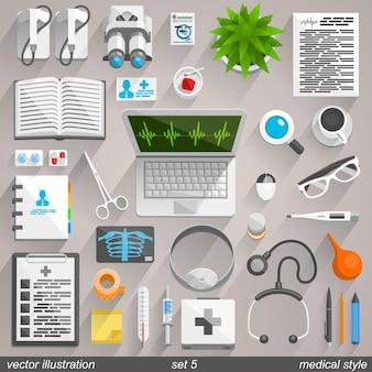 Ícones de estilo médico do vetor. conjunto 5 ilustração arte