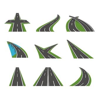 Ícones de estrada curva de perspectiva dos desenhos animados definir design de estilo simples de maneira de transporte de asfalto. ilustração vetorial