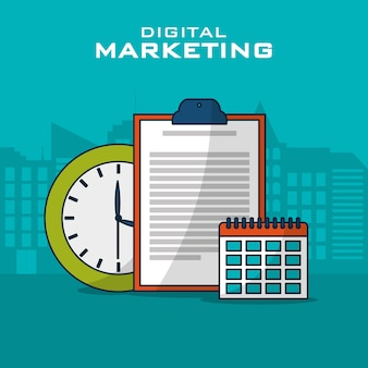 Ícones de estratégia de negócios de marketing digital