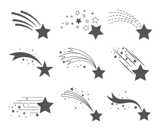 Ícones de estrelas cadentes. cauda de cometa ou vetor de trilha estrela conjunto isolado no fundo branco. poeira estelar caindo meteoritos simples