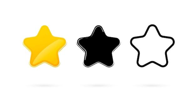 Ícones de estrelas definidos coleção de estrelas em diferentes estilos, linha plana e ícone preto níveis de classificação estrela