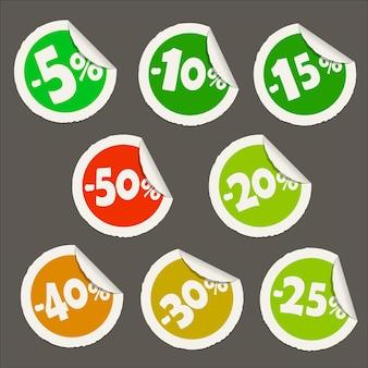 Ícones de etiqueta de desconto redondo. adesivo de papel realista com borda curva