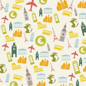 Ícones de europa sobre ilustração vetorial de fundo bege