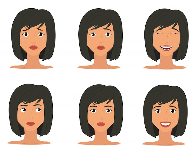 Ícones de expressão de emoções de mulher
