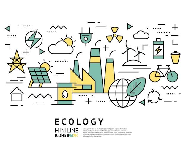 Ícones de fábrica de saúde ecologia