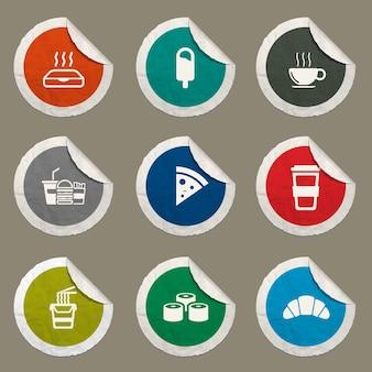 Ícones de fast food definidos para sites e interface do usuário