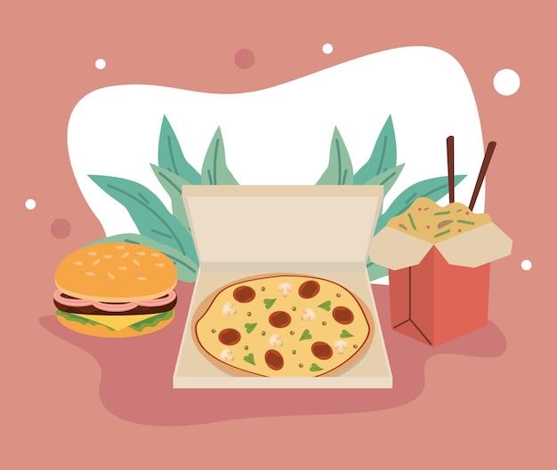 Ícones de fast food em casa