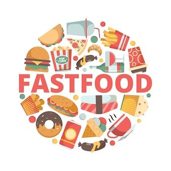 Ícones de fast-food fotos do menu em forma de círculo bebida gelada pizza hambúrguer sanduíche sorvete fast-food símbolos coloridos planos