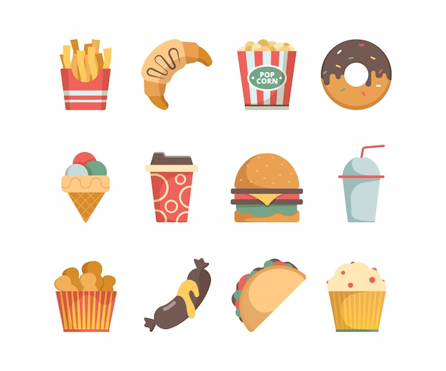 Ícones de fast-food hambúrguer pizza salsichas lanches sanduíche sorvete comida menu fotos planas