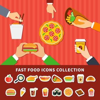 Ícones de fast food mãos banners plana