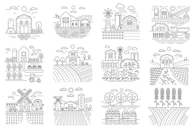 Ícones de fazenda agrícola, campos agrícolas e linha de edifícios