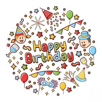 Ícones de feliz aniversário com letras backgound