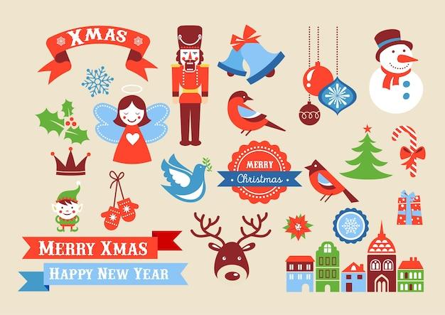 Ícones de feliz natal, elementos de estilo retro e, etiquetas e rótulos