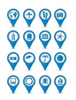 Ícones de férias azul isolados sobre o vetor de fundo branco
