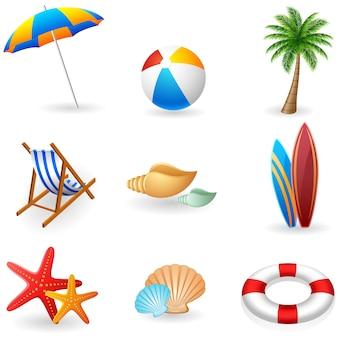 Ícones de férias de verão
