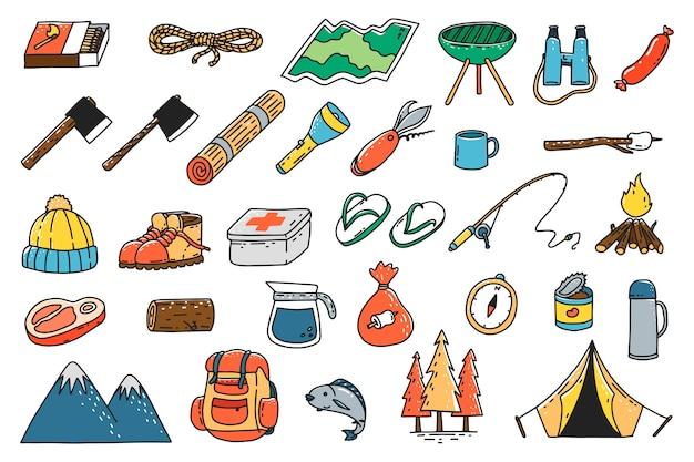 Ícones de ferramentas de acampamento desenhados à mão