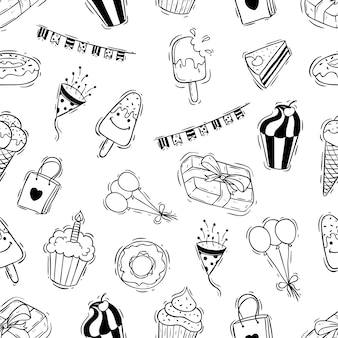 Ícones de festa de aniversário de doodle em padrão sem emenda