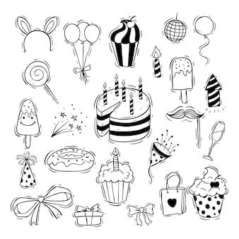 Ícones de festa de aniversário preto e branco com bolinho