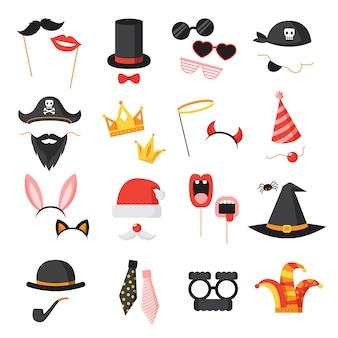 Ícones de festa de cabine de foto com orelhas de barba e óculos plana isolada ilustração vetorial