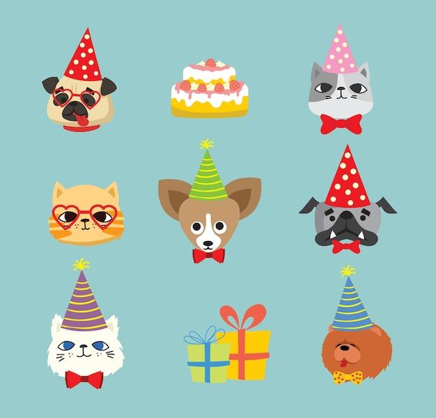 Ícones de festa de cachorros e gatos