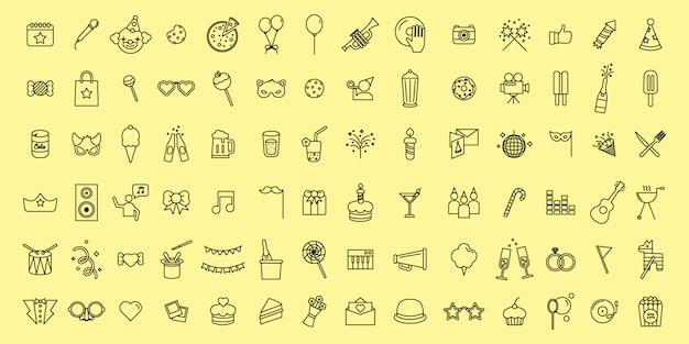 Ícones de festa e comemoração de linha fina de vetor simples conjunto