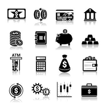 Ícones de finanças de dinheiro pretas