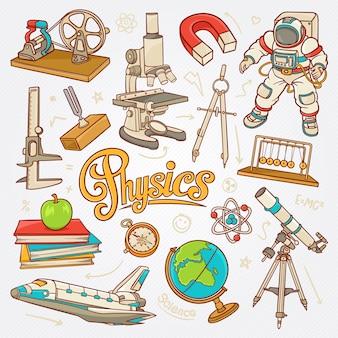 Ícones de física no conceito de ciência esboçar ilustração vetorial