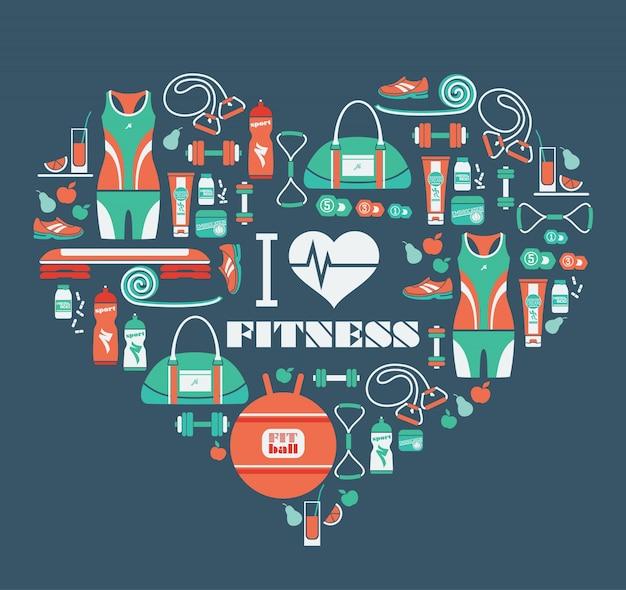 Ícones de fitness fundo em forma de coração