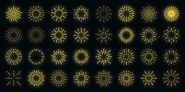 Ícones de fogos de artifício configurados com néon de vetor