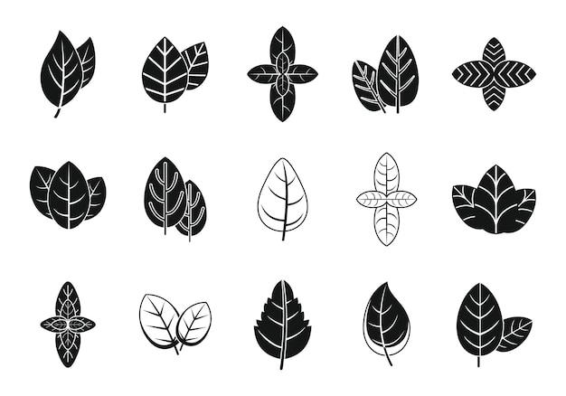 Ícones de folha de manjericão definir vetor simples. saúde da agricultura. aroma manjericão