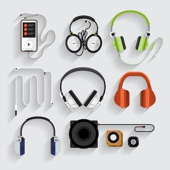 Ícones de fones de ouvido, alto-falante, mp3 player