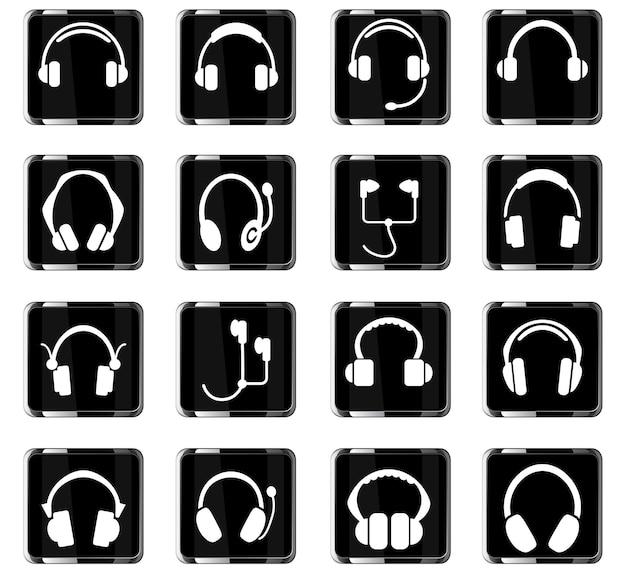 Ícones de fones de ouvido para design de interface de usuário