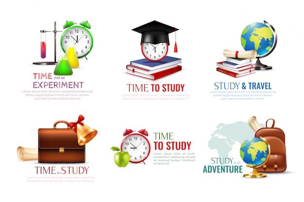 Ícones de formatura da escola conjunto com o tempo para estudar desenhos animados de símbolos isolado