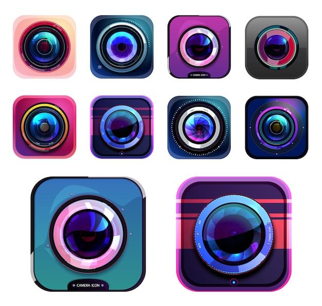 Ícones de fotos e câmeras de vídeo