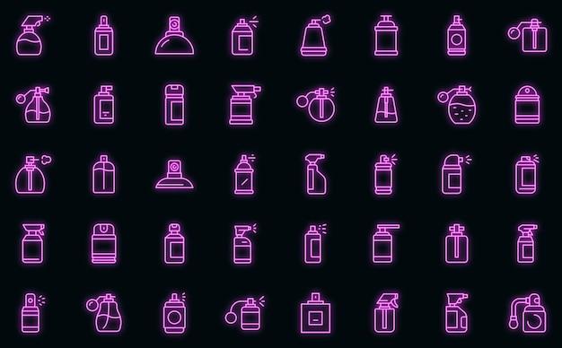 Ícones de frascos de spray definem néon de vetor