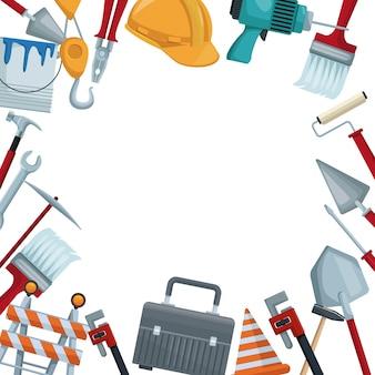 Ícones de fronteira colorida de ferramentas de construção