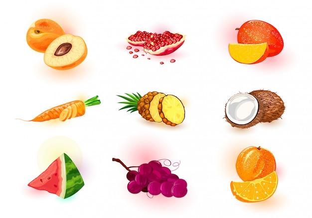 Ícones de frutas, bagas e legumes