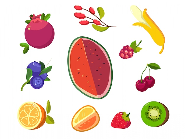 Ícones de frutas e bagas