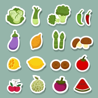 Ícones de frutas e legumes