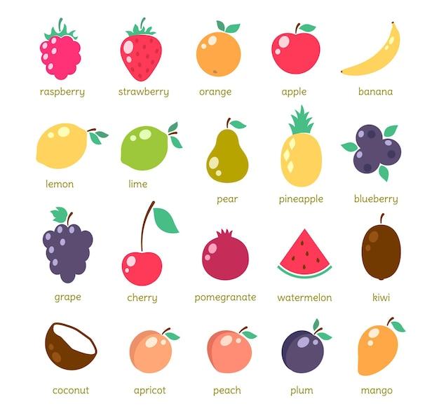 Ícones de frutas simples, conjunto de ilustrações