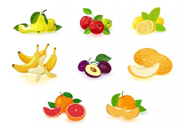 Ícones de frutas tropicais e locais