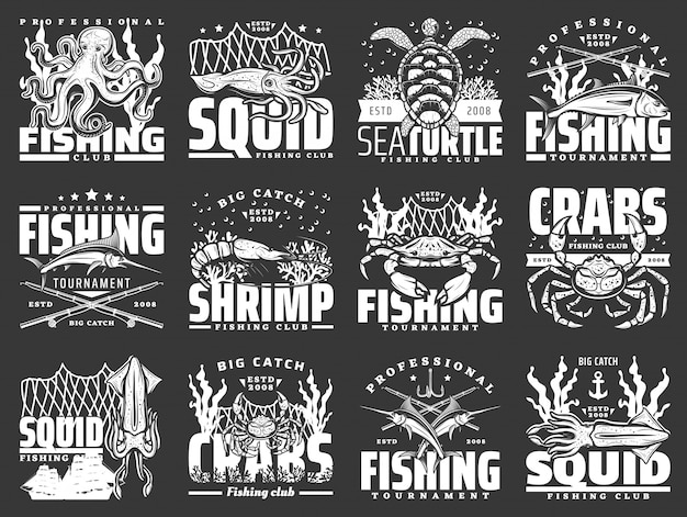 Ícones de frutos do mar e atum de caranguejo. esporte de pesca