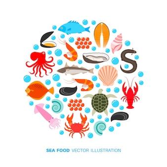 Ícones de frutos do mar e peixes.