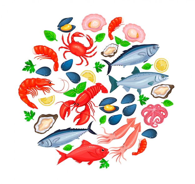 Ícones de frutos do mar
