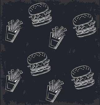 Ícones de fundo de fast-food