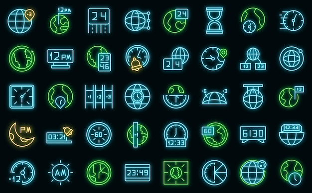 Ícones de fuso horário definem vetor neon